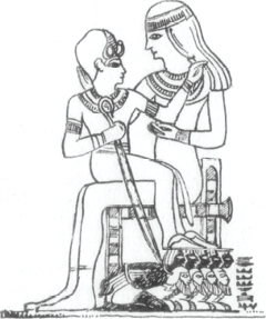 Description: Relief: Amenophis II as the young Pharaoh sitting on the lap of his (wet) nurse. (Rienecker 1967:423; Keel 1978:254)