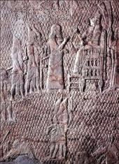 Description: Relief: Sennacherib, king of Assyria, on his nemedu-throne (Wilson 2012)